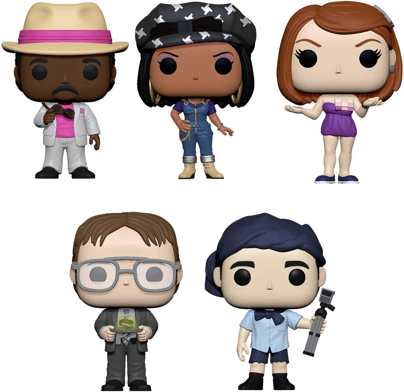 Funko Pop! Bundle of 5: The Office - Florida Stanley, Michael as Survivor, Dwight w/Gelatin Stapler, Casual Friday Meridith and Casual Friday Kelly