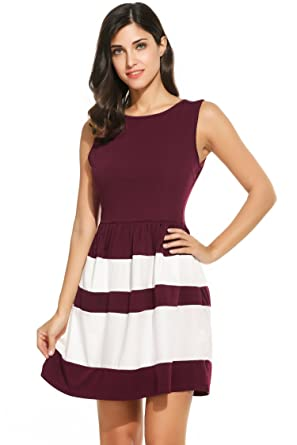 a78e78cb26a5 Meaneor Women s Vintage Striped O Neck Sleeveless Pleated Fit Skater Dress