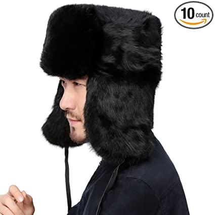 3e27f186a7c Amazon.com  Valpeak Mens Winter Real Rabbit Fur Russian Ushanka Hats ...