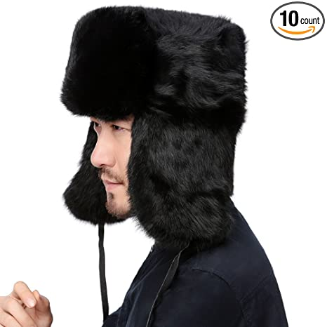 05df9159da1 Amazon.com  Valpeak Mens Winter Real Rabbit Fur Russian Ushanka Hats ...