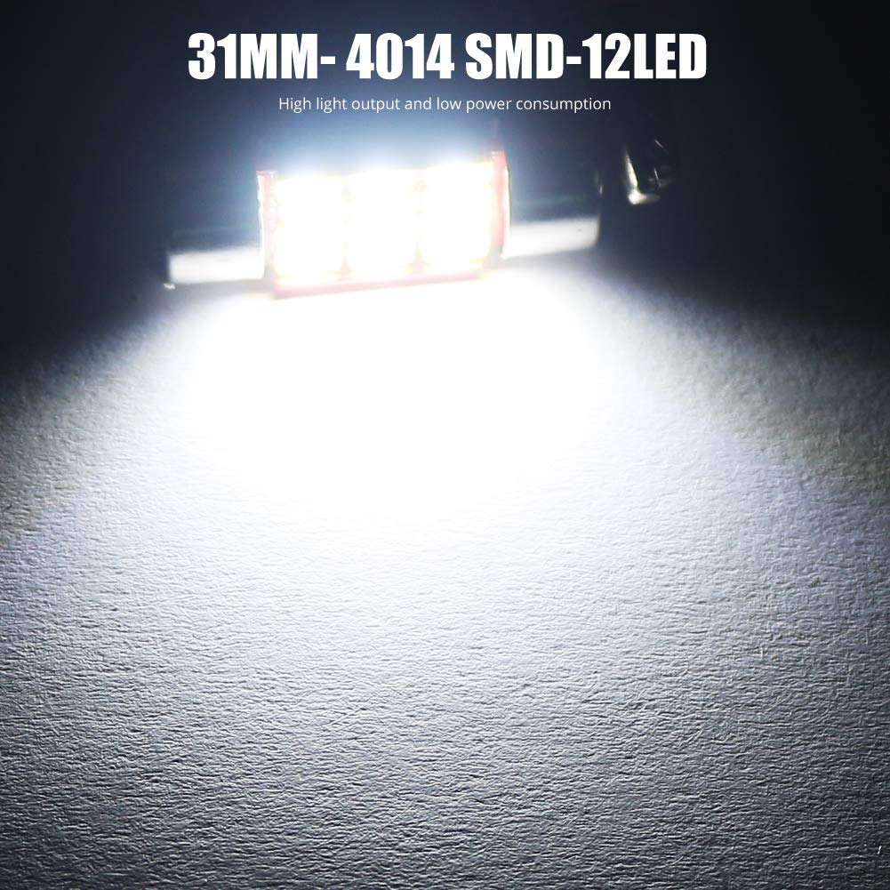 1.41 2019 update LED Bulbs Super Bright 4014 16SMD Chips Festoon Interior Dome Map Trunk Cargo Lights C5W DE3423 DE3425 6411 6418 6423 6461,6000K-6500K.Xenon White. BOODLIED 600Lumens Canbus 36mm