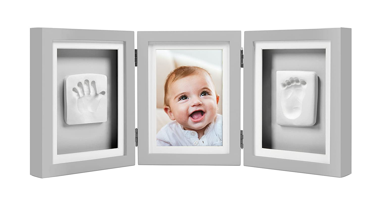Pearhead Newborn Baby Handprint and Footprint Deluxe Photo Frame & Impression Kit, Desk, White P63006