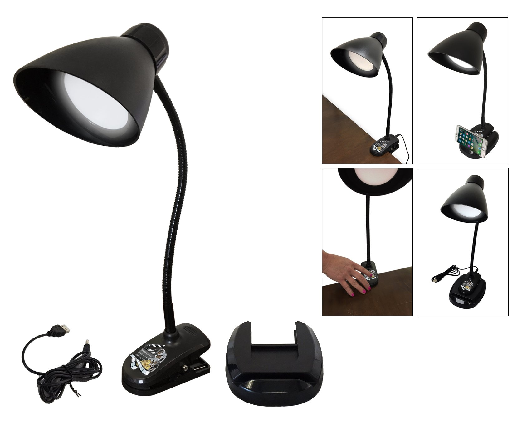 New Item! Versatile Black LED 3-Way Touch Lamp Powered by a USB Outlet Featuring Your Favorite Novelty Themed Logo (Movie Reel)