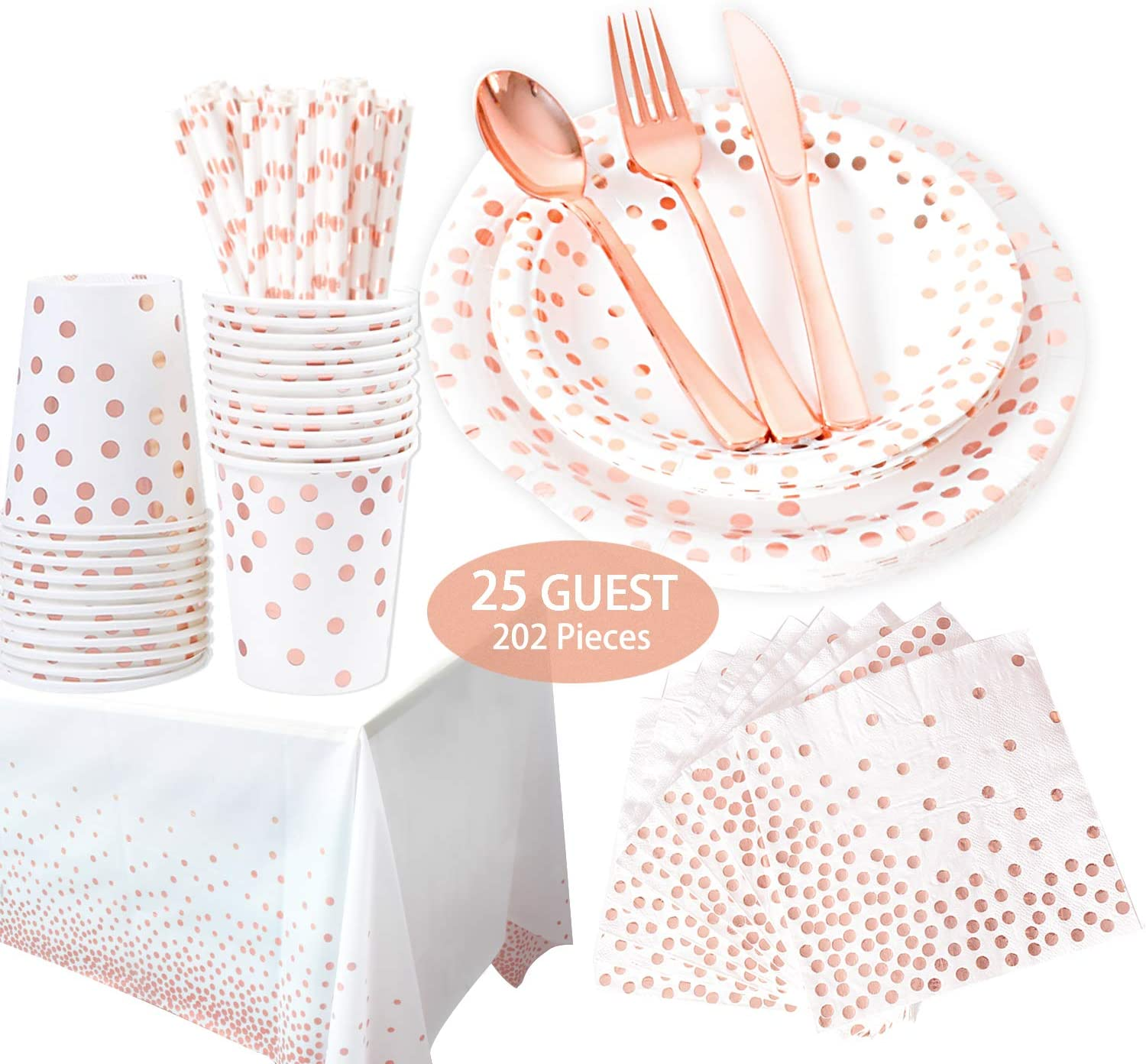 202 Piece Rose Gold Party Supplies Set | Disposable Dinnerware Set | Polka Dot | Services 25 with Rose Gold Cutlery Includes Plastic Knives, Spoons, Forks, Paper Plates, Napkins, Cups, straw,Tableclot