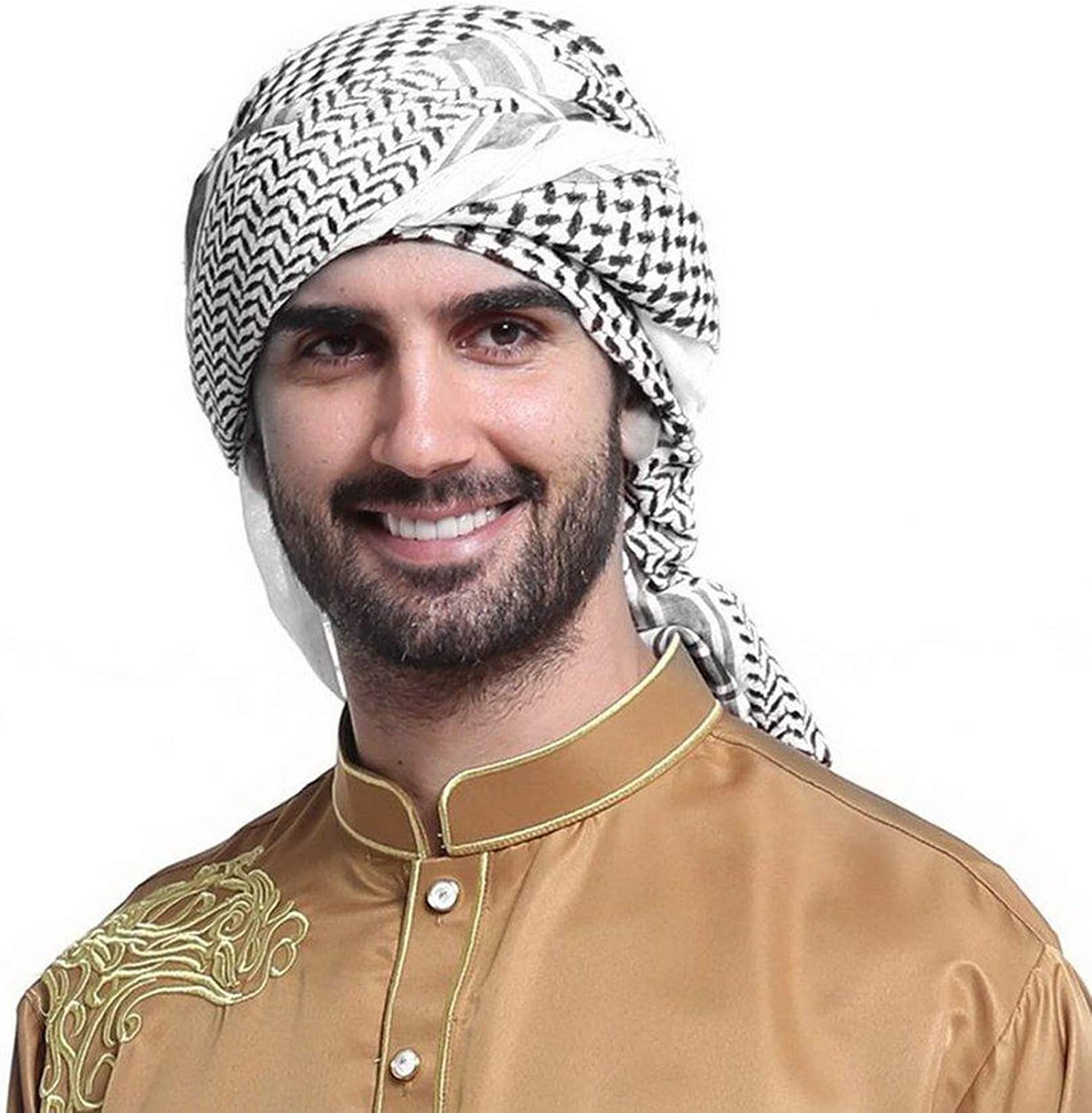 Men Scarf Arab Shemagh Head Scarf Neck Wrap Cottton Palestine Arafat Black At Amazon Men S Clothing Store