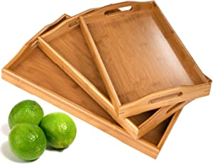 3 Pack Serving Tray,Large Bamboo Serving Tray with Handles Wood Serving Tray Set for Coffee,Food,Breakfast,Dinner