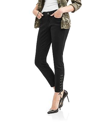526e8075d41 Amazon.com  Zanadi Women s Skinny Leg Jeans With Lace Up Ankle Detail (6
