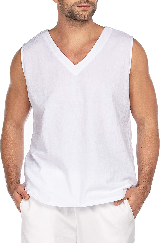 COOFANDY Mens Fashion Sleeveless T-Shirt Linen Cotton Tank Summer Beach V Neck Tops Hippie Shirts Yoga Top