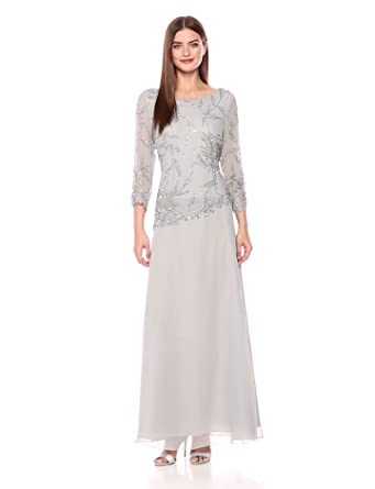 e8e9a01f2ccc0 J Kara Women's Long Scoop Neck Asymetrical Beaded Dress, Silver/Multi, ...