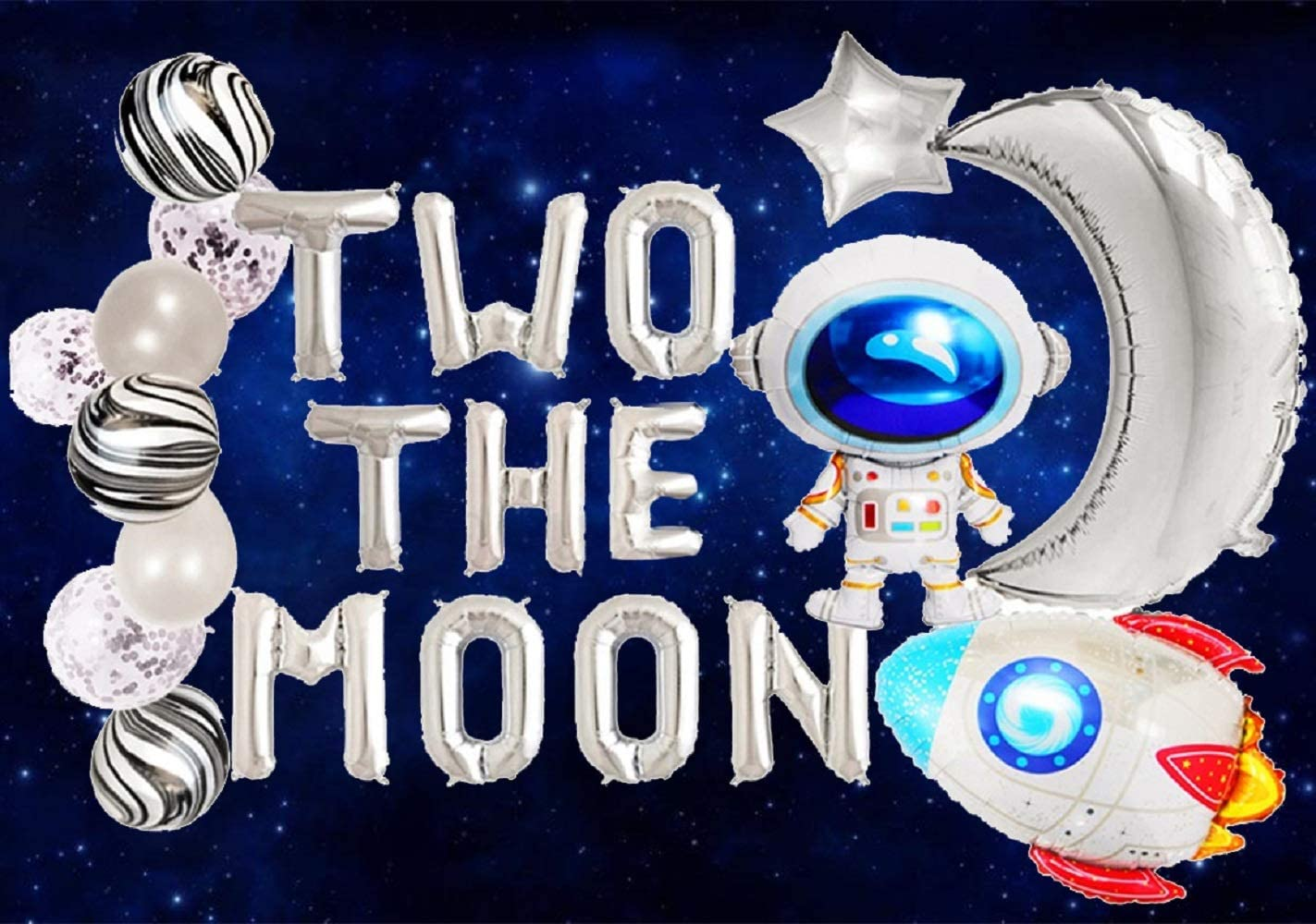 JeVenis Set of 20 Two the Moon Balloons 2 the Moon Space Birthday Decoration Space Balloons Galaxy Balloons Astronaut Balloons for Outer Space Theme Decor To the Moon Decoration