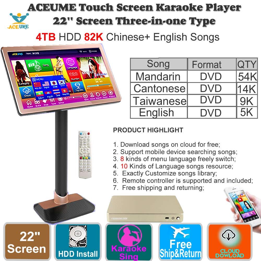 4TB HDD 87K Chinese songs,English Songs,22'' Touch Screen Karaoke Player, Cloud Download, Remote controller Included 觸摸屏卡拉OK 播放器,云下載