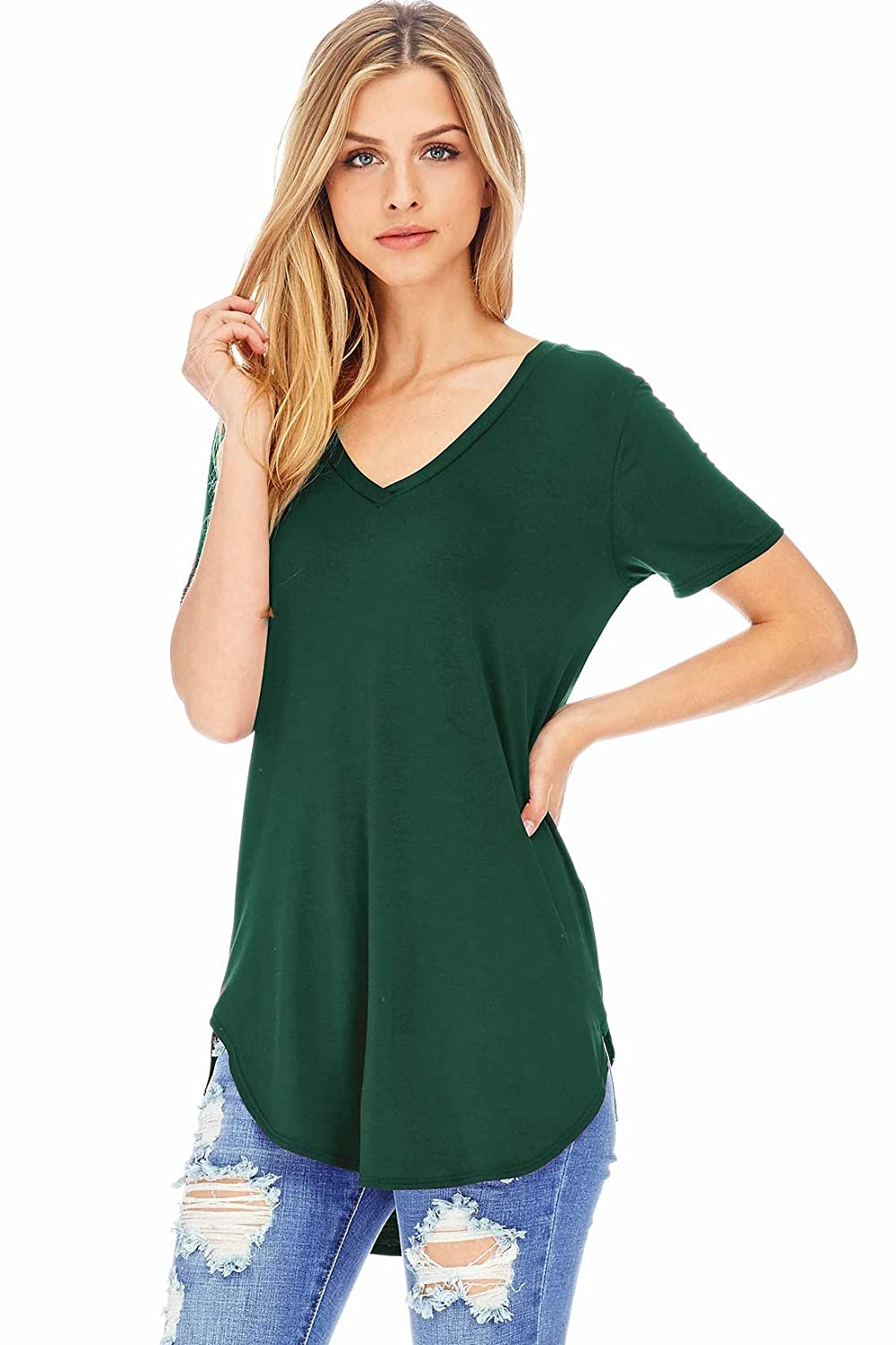 Emmas Closet Women's Oversize Stretchy V-Neck Tee