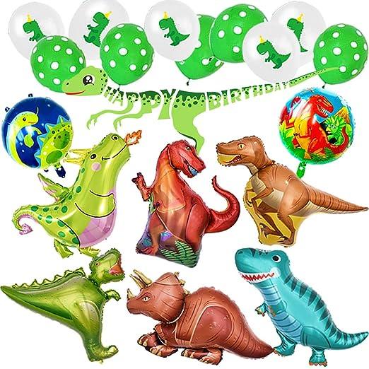 Ánimo Globo Dinosaurio de Decoración para Fiesta,Paquete Completo incluye Dinosaurios Grande x8 más Pelotas Dinosaurios x10 y Un Chulo Happy Birthday ...