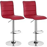 WOLTU #1078 Design Hocker mit Griff, 2er Set, stufenlose Höhenverstellung, verchromter Stahl, Antirutschgummi, Pflegeleichter Kunstleder, gut gepolsterte Sitzfläche