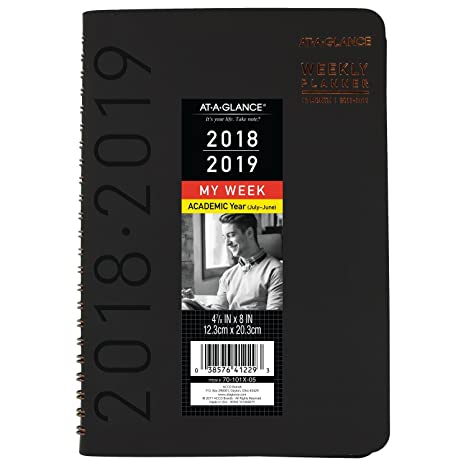 AT-A-GLANCE 2018-2019 Academic Year Weekly & Monthly Planner, Small, 4-7/8 x 8, Contemporary, Black (70101X05)
