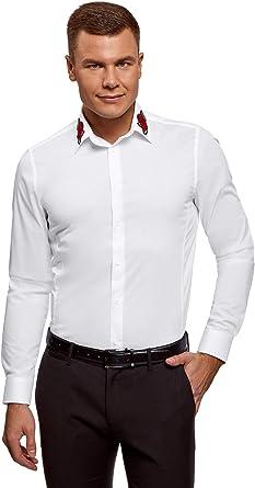 oodji Ultra Hombre Camisa Entallada con Parche en el Cuello: Amazon.es: Ropa y accesorios