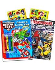 Transformers Rescue Bots Coloring and Activity Book Set (2 Books ~ 96 Pages) Dinobot, Optimus Prime, Chase, Heatwave, Blades, and Boulder
