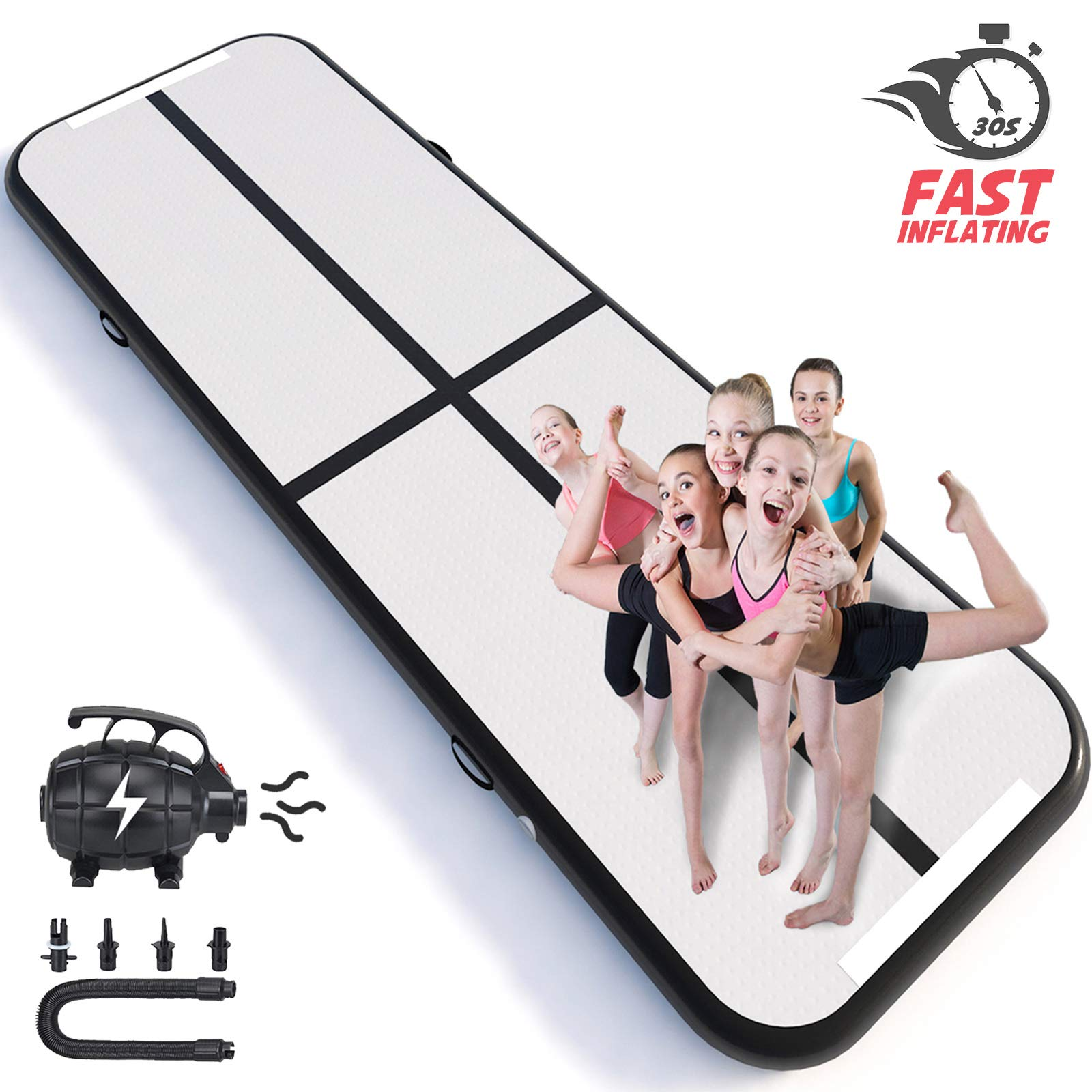 Happybuy 10ft/13ft/17ft/20ft/23ft/26ft/33ft Air Track 8in Thick Tumbling Mat Inflatable Gymnastics Airtrack for Home Use/Cheerleading/Yoga/Parkour/Water with Pump (Black(40x4in), 10ft)