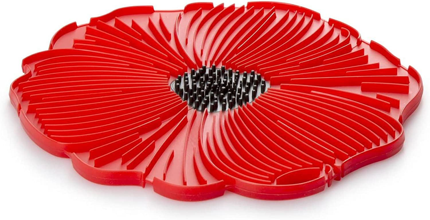 Charles Viancin - Poppy Red Food Safe Silicone Trivet - 6''/15cm - Withstands Temperatures up to 220°C / 428°F - BPA-Free, Plastic Free, Food-Grade Silicone - Microwave and Dishwasher Safe