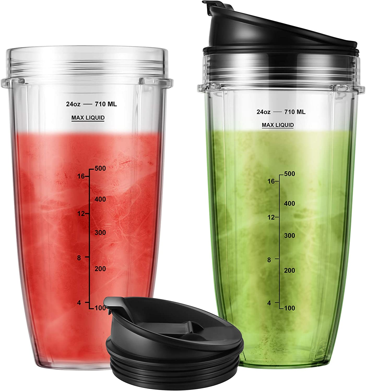 2-Pack 24oz Cup with Sip & Seal Lid Blender Replacement Parts Compatible with Nutri Ninja Auto IQ Series Blenders BL450 BL454 BL456 BL480 BL481 BL482 BL490 BL640 BL642 BL682