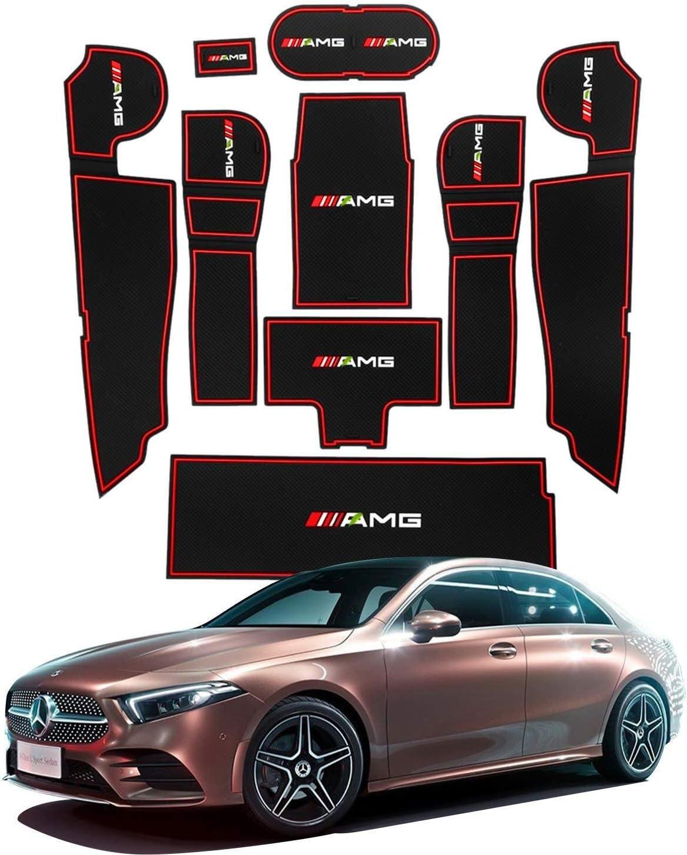 Tampon antid/érapant for /écrou de porte de voiture compatible avec la Mercedes Classe A W177 V177 2018 2019 Bo/îte de rangement for tasse deau int/érieure de voiture Tapis antid/érapant en caoutchouc Tap