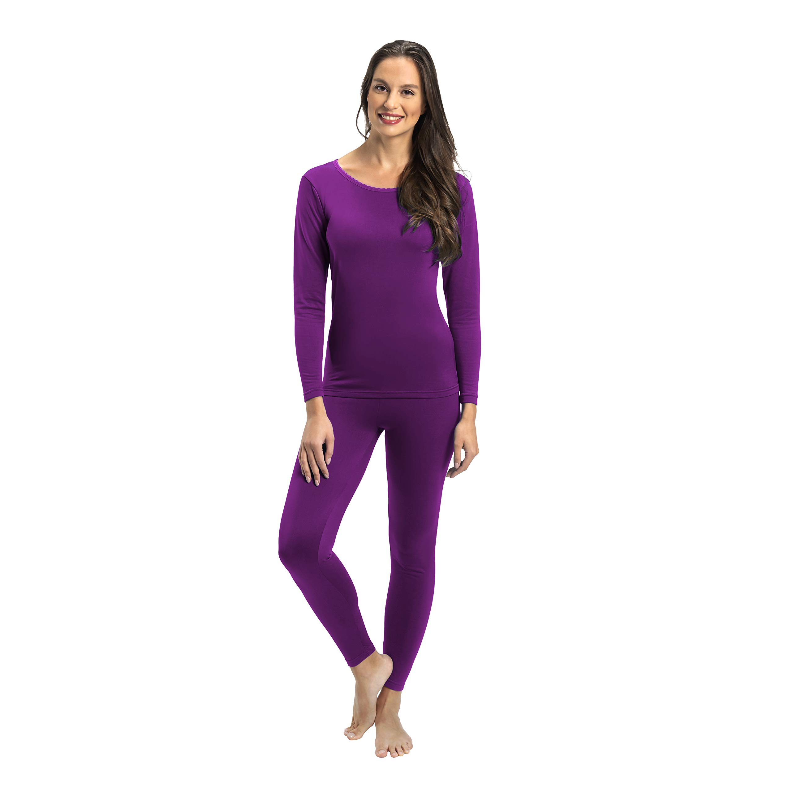 Rocky Womens Thermal 2 Pc Long John Underwear Set Top and Bottom Smooth Knit (Medium, Purple) by Rocky