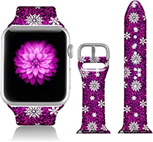 FTFCASE Sport Bands Compatible with iWatch 38mm/40mm Snowflake-Red, Flower Printed Soft Silicone Strap Replacement for iWatch 38mm/40mm Series 5/4/3/2/1