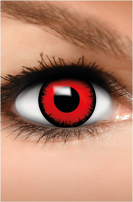 FUNZERA Lentes de contacto de Halloween de color, lentilla de motivo rojo, 1 par, un solo uso sin receta, disfrazarse como un VAMPIRO VOLTURI
