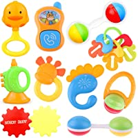 Ramakada Lovely Attractive Colorful Toddlers 7 Rattle and 3 Teether Toys Set for Babies