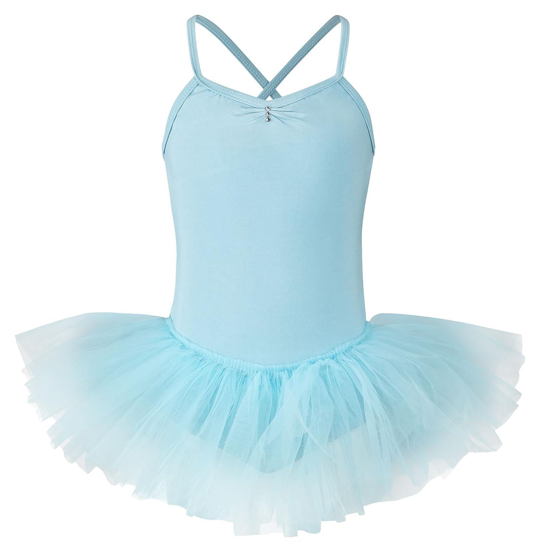 tanzmuster Kinder Ballett Tutu Kim - süßer Spaghetti-Träger Ballettbody mit Tuturock und Glitzersteinen in rosa, weiß, schwarz, hellblau, pink, lila, Lavendel und Marineblau. weiß