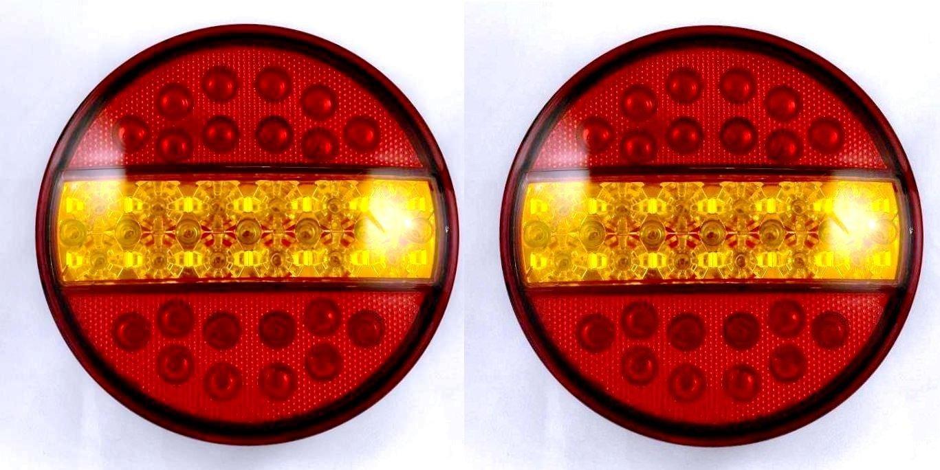 2x universal LED 12V hamburger rear tail E24 marked lights truck trailer caravan tipper van bus motorhome van
