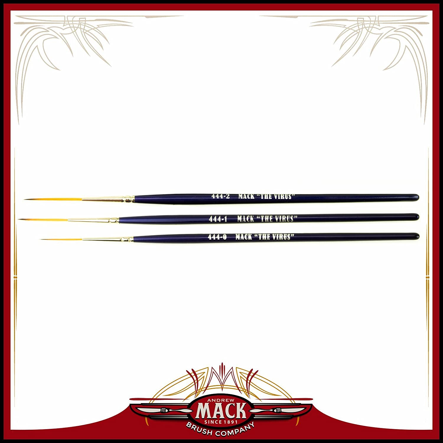 Set of 3 Size 0-2 Series 444 The Virus Scrolling Script Pinstriping Brush With Specially Blended Golden Taklon Andrew Mack Brush