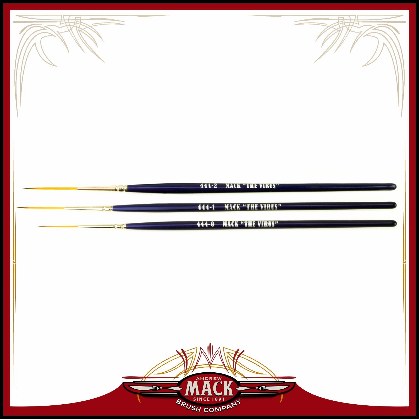 Set of 3 Size 0-2 Series 444 The Virus Scrolling Script Pinstriping Brush With Specially Blended Golden Taklon