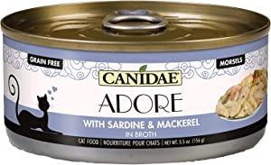 Canidae Adore Grain Free Wet Cat Food, Sardine and Mackerel in Broth, 5.5oz