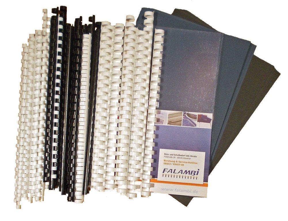 Starterset für Plastikbindegerät - 155 Teile - Binderücken, Deckelfolien, Einbanddeckel... FALAMBI
