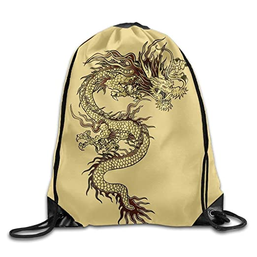 826537ffd1 Image Unavailable. Image not available for. Color  Unisex Chinese Dragon  Gold Print Drawstring Backpack Rucksack Shoulder Bags Gym Bag ...