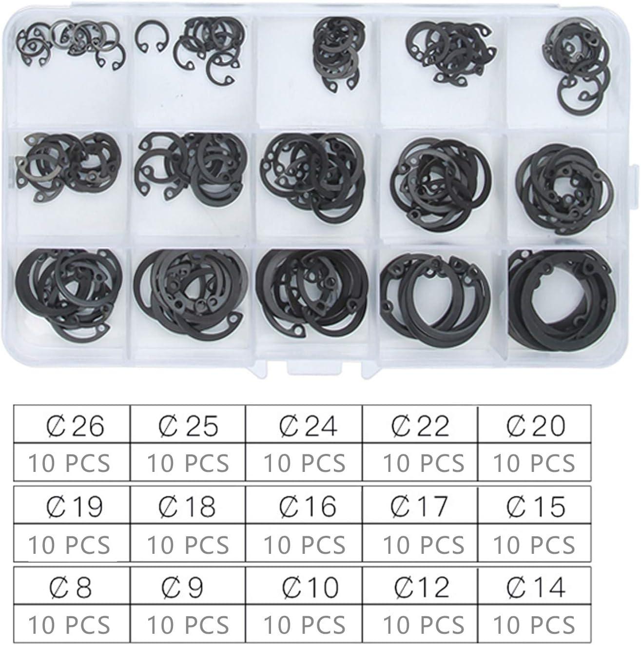 M1.5-M15 215 Pi/èces Bagues Darr/êt Circlips E-clip Circlips Exterieur Tyelany Circlips Assortiment 14 Tailles Diff/érentes Adapt/ées /à de Nombreuses Situations avec une Bo/îte en Plastique