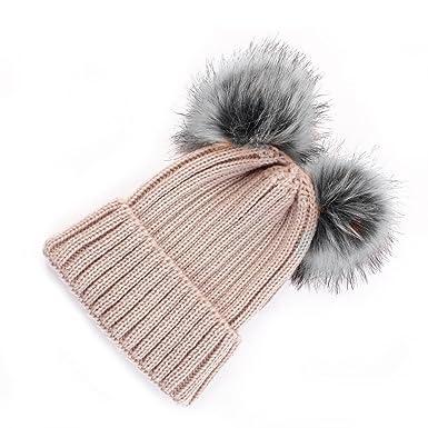 Women s Faux Fur Winter Warm Knit Knitted Bobble Double Pom Pom Beanie  Bobble Baggy Fluffy Ball Crochet Ski Cap Hat UK Stock (Beige)   Amazon.co.uk  Clothing edb3b1958