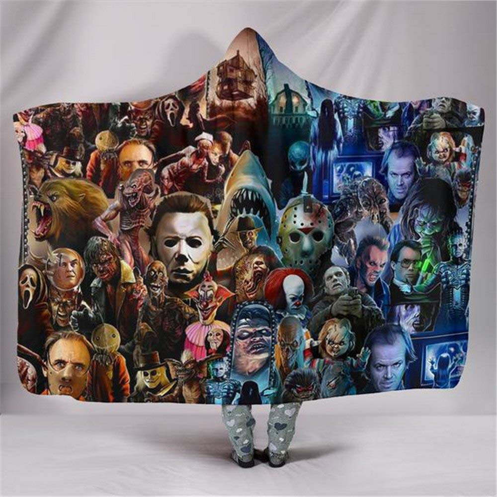 Pengxuehuang Novelty Hooded Blanket Mysterious Ghost Blanket Horror Movies Watching Protecting Blankets Game Play Tricks Blanket Set 130150CM