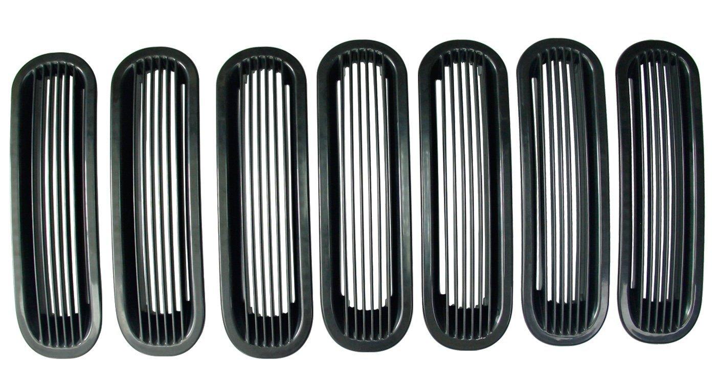Bentolin 7 PCS New Cool Bar Style Black Trim Front Grill Grille Mesh Insert Cover Frame for 2007-2016 Jeep JK Wrangler