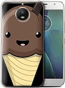Phone Case for Motorola Moto E4 2017 Kawaii Food Chocolate Ice Cream Design Transparent Clear Ultra Slim Thin Hard Back Cover