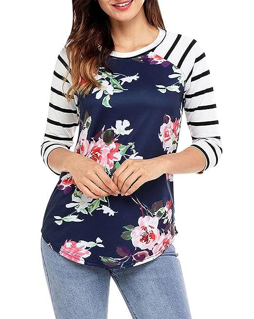 Camisetas Cuello Redondo Manga Larga Mujer Camiseta Manga 3/4 para Dama Camisas Rayas Estampadas