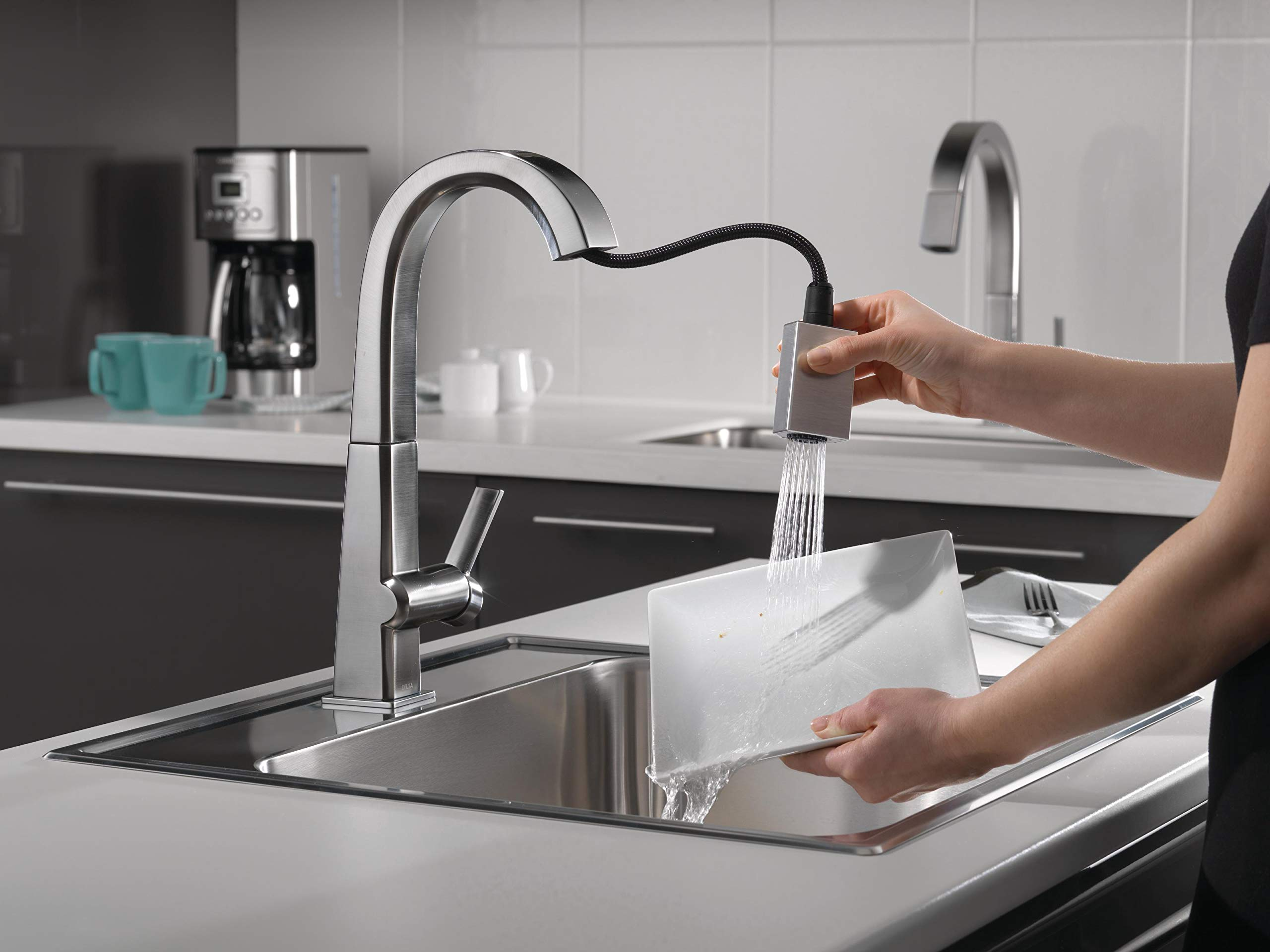 Delta Faucet Pivotal Single-Handle Bar-Prep Kitchen Sink Faucet with Pull Down Sprayer and Magnetic Docking Spray Head, Arctic Stainless 9993-AR-DST by DELTA FAUCET (Image #2)