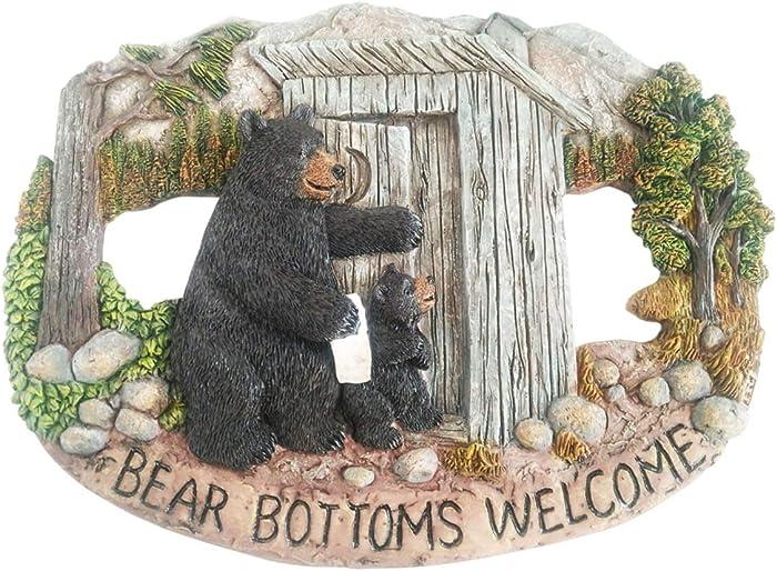 Black Bear Decorations for Home - Mama Bear Sign Bear Bottoms Welcome Home Decor Bear Cabin Wall Hanging - Wilderness Bathroom Decor Welcome Bear Sign - Bear Wall Decor Bear Pictures Wall Art