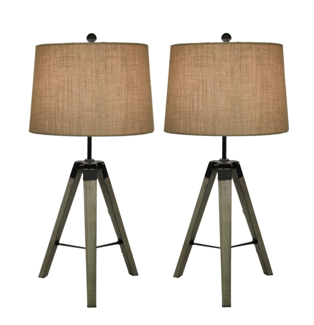 Wood & Metal Table Lamps Set Of 2 Wood Metal Tripod Tbl Lamp 31''H 15 X 29 X 15 Inches Off-White Model # 97335 by Zeckos
