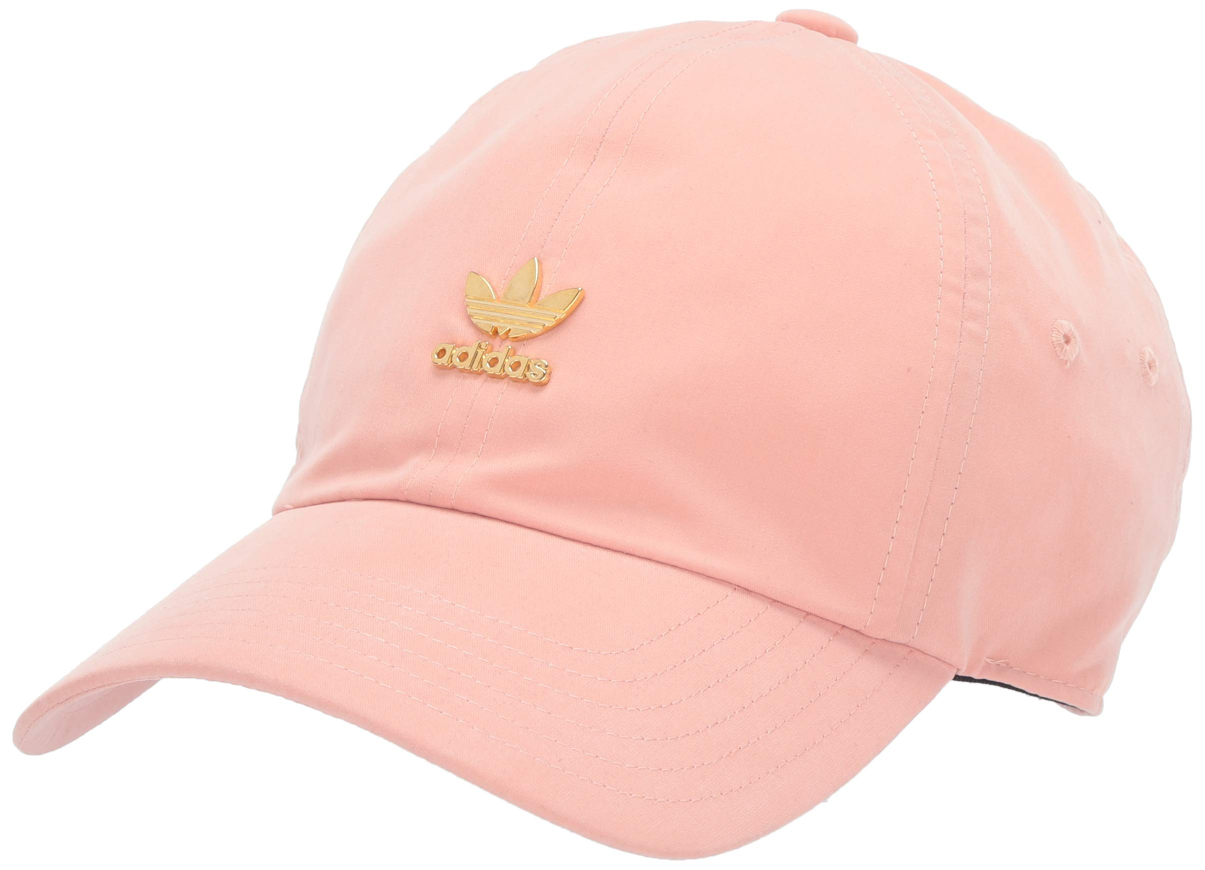 adidas Women's Originals Relaxed Metal Logo Strapback Cap, Dust Pink/Gold, One Size