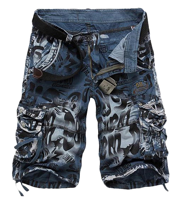 Papijam Mens Straight Fit Camo Pocket Rugged Knee Length Cargo Short