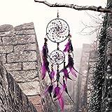 "Dream Catcher, Handmade Purple Circular Net Wall Hanging Ornament Decorations for Kids Girls Home Bedroom Car -4.3"" Diameter, 21.65"" Long"