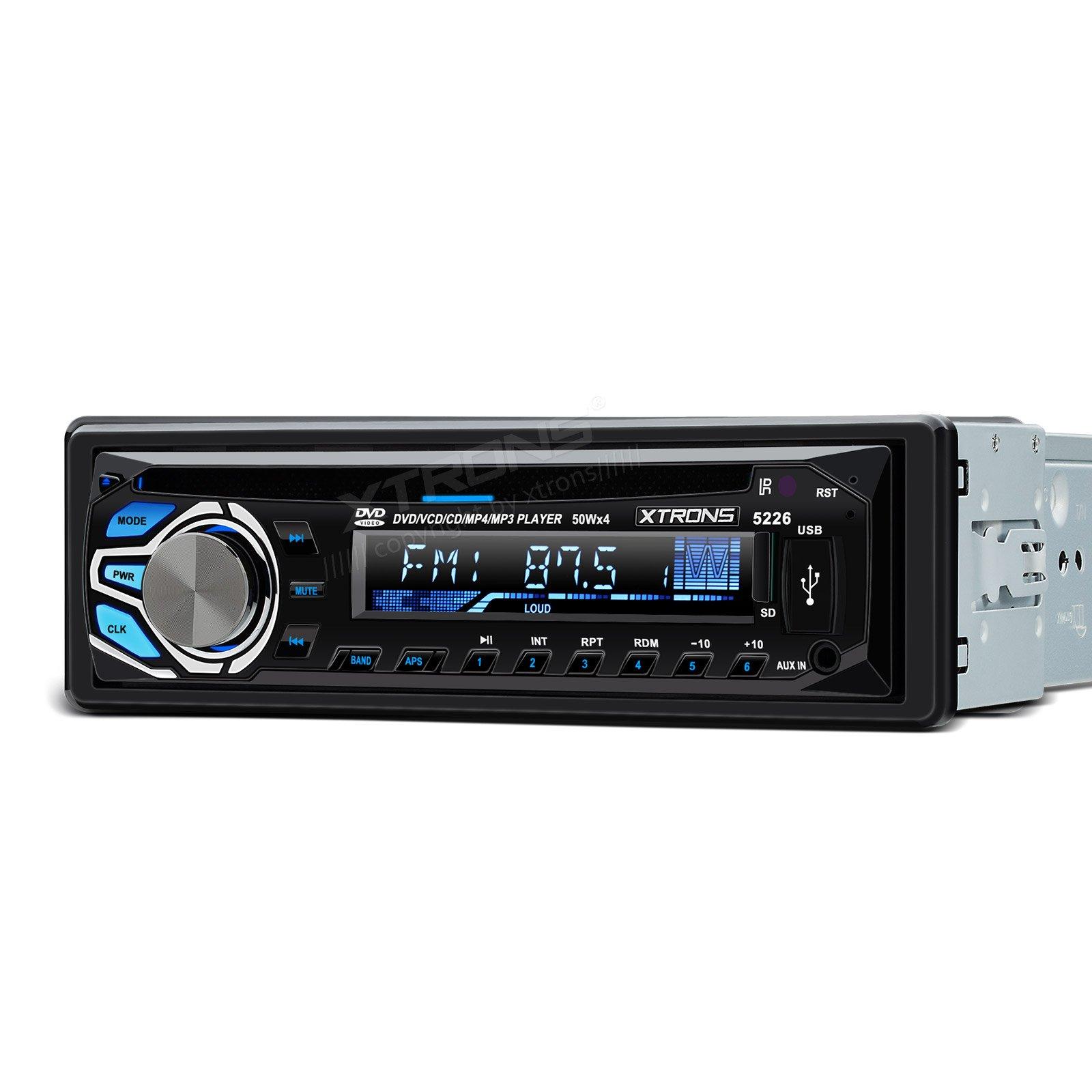 XTRONS Universal 24V In-dash 1 Single DIN Car Stereo LCD Screen FM USB SD MP3 CD VCD DVD Player