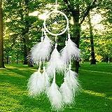honearn Dream Catcher, handgefertigt weiß Traumfänger mit Natur Feder für Wand hängende Dekoration Ornament Craft Geschenk Wind Chimes (weiß)